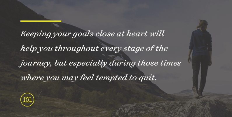 Keeping your goals close at heart will help you throughout every stage of the journey, but especially during those times where you may feel tempted to quit. | Day Designer