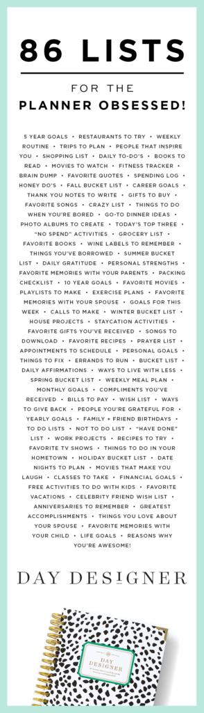 86 lists for the planner obsessed day designer 2018 2019 daily