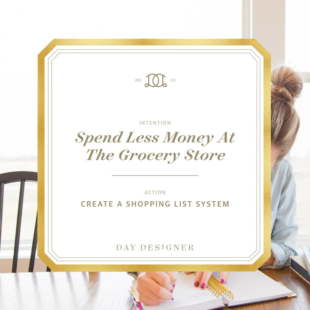 Practical ways to save money when grocery shopping and meal planning. Part of the Intentional April series from Day Designer.