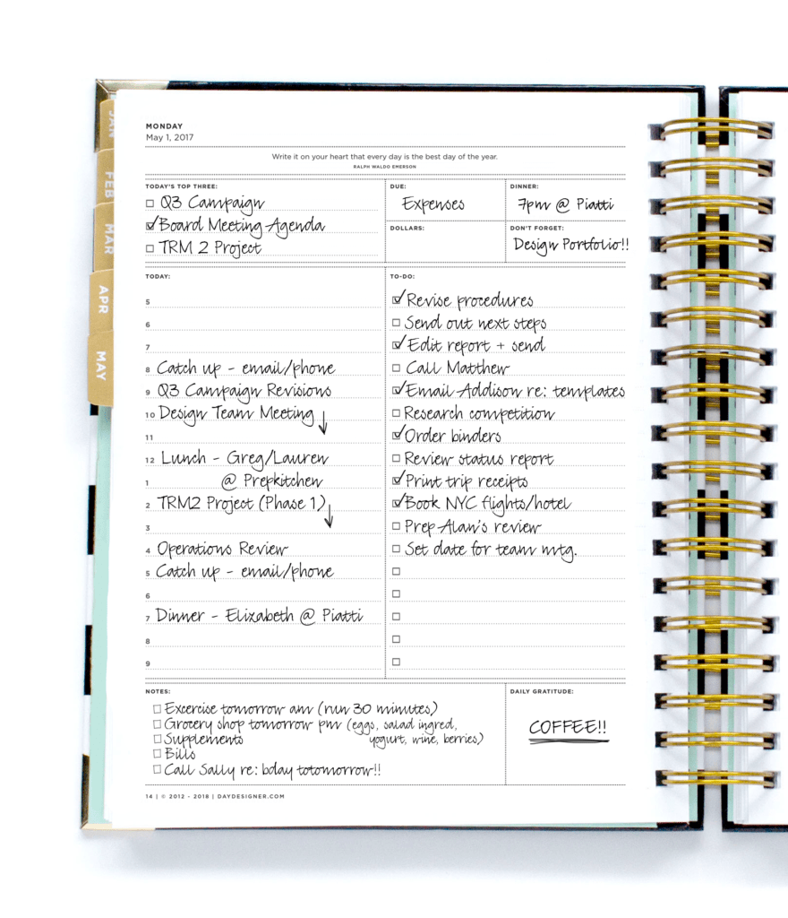 Day Designer Daily Planning Page