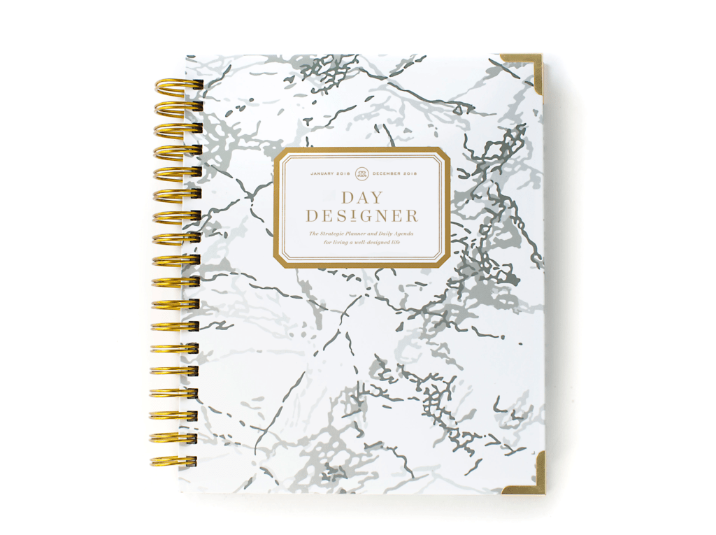 Day Designer Flagship Edition | 2018 Daily Planner | White Marble